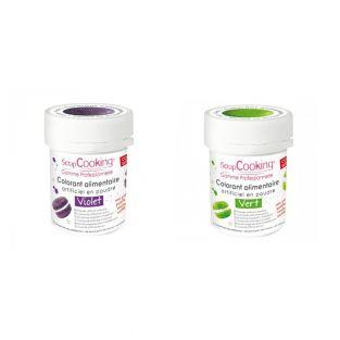 2 powdered food colorings - green-violet