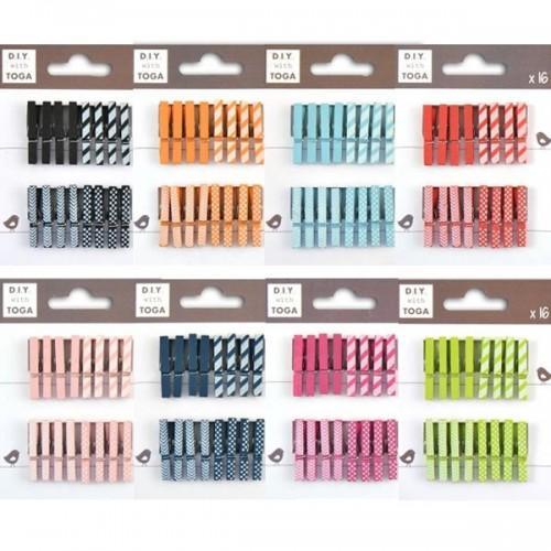 Kit Mini clothespins 8 colors