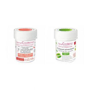 2 powdered food colorings - coral-green