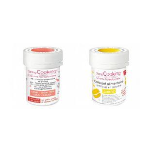 2 powdered food colorings - coral-yellow