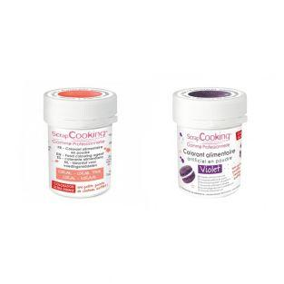 2 powdered food colorings - coral-violet