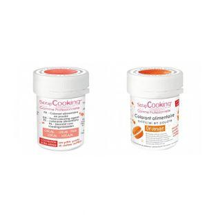 2 powdered food colorings - coral-orange