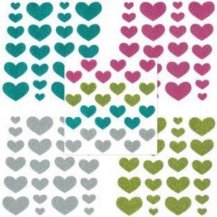 Stickers coeurs à paillettes