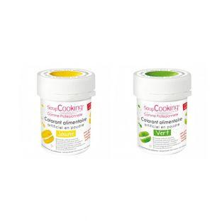 2 powdered food colorings - green-yellow