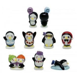 4 Porzellanbohnen - Pinguine