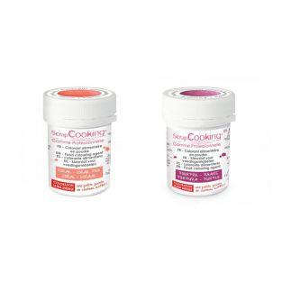 2 powdered food colorings - coral-purple
