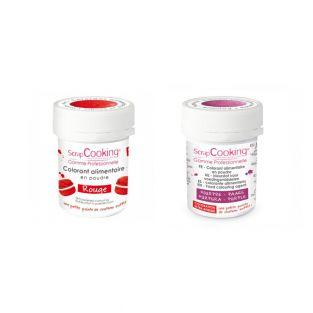 2 powdered food colorings - red-purple
