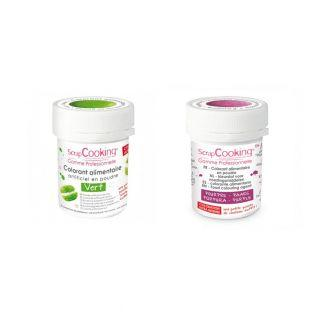 2 powdered food colorings - green-purple