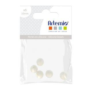 5 perles silicone rondes - 10 mm - blanc