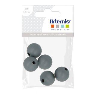 5 perles silicone rondes - 10 mm - gris