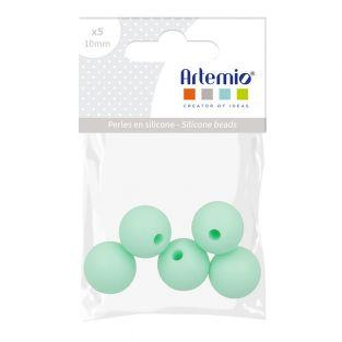 5 perles silicone rondes - 10 mm -...