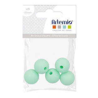 Perla de silicona redonda x 5 - 10 mm...