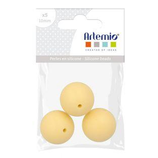 Silicone bead round x 3 - 15 mm - yellow