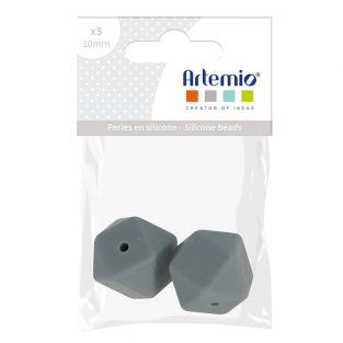 Silicone bead hexagonal x 2 - 17 mm -...
