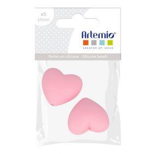 2 perles silicone coeur - 29 x 19 x...