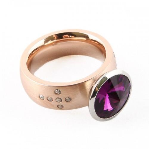 Bague cuivrée + pierre violette