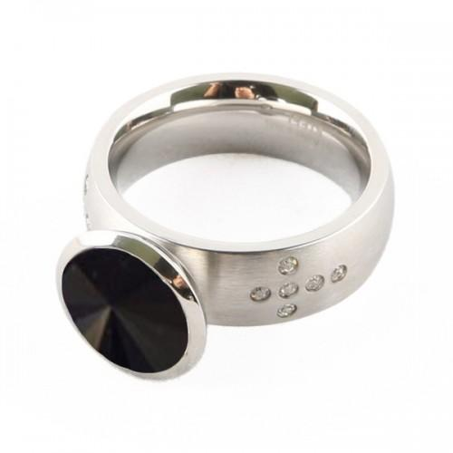 Chrome silver Ring + black stone