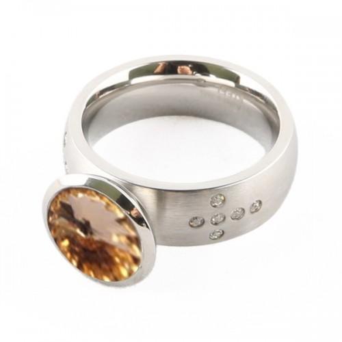 Chrome silver Ring + golden stone