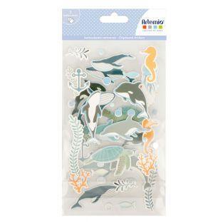 Pegatinas de cartón x 3 - Fondo marino