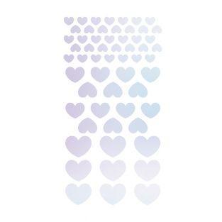 4 stickers holographiques cœurs