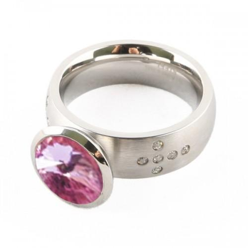 Chrome silver Ring + pink stone