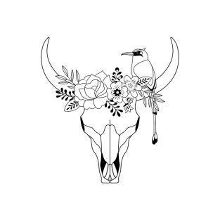 Timbro di legno - Testa di bufalo -...