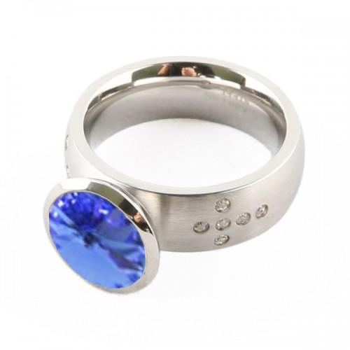 Chrome silver Ring + blue stone