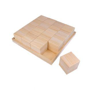 Tray with 16 wooden blocks - 26,5 x...