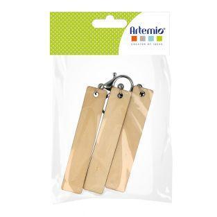 3 Llaveros rectangulares de madera -...