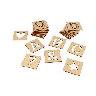 30 pochoirs en bois 6 x 6 cm - Alphabet