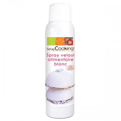 Spray alimentario textura terciopelo blanco