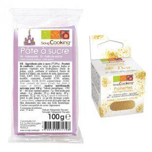 Pasta de azúcar púrpura 100 g +...