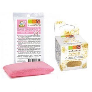 Pasta de azúcar rosa 100 g + Brillo...