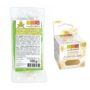 Zuckerteig Wiesengrün 100 g + Goldene...