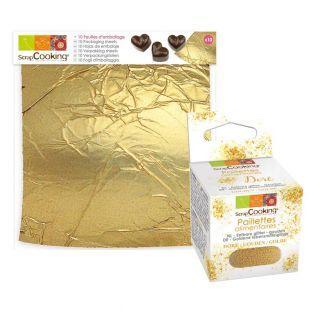 10 goldene Blätter Gebäck + Goldene...