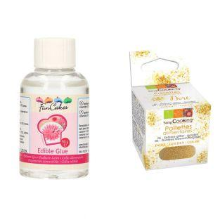 Edible Glue 50 g + Edible golden glitter