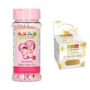 Décors sucrés Pieds de bébé rose +...
