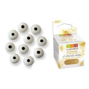 24 Sugar eyes + Edible golden glitter