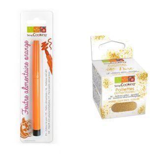 Lebensmittelstift Orange + Goldene...