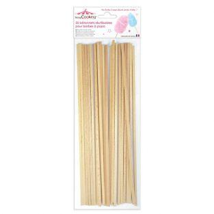 Reusable wooden sticks for candy floss