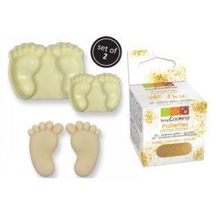 Kuchenform Baby-Füße x 2 + Goldene...
