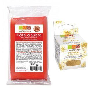 Pasta de azúcar roja + Brillo dorado...