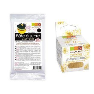 Pasta de azúcar negra + Brillo dorado...