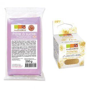 Violet sugarpaste vanilla flavour +...