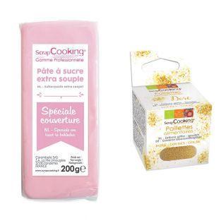 Pâte à sucre de couverture rose 200 g...