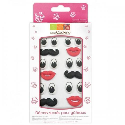 18 decoraciones azucaradas ojos-boca-bigote