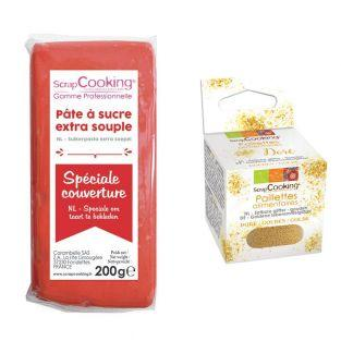 Easy-to-roll sugar paste 200 g red +...