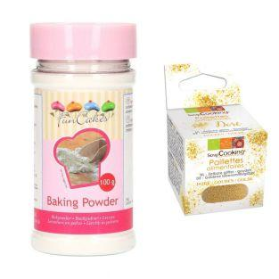 Baking powder 80 g + Edible golden...