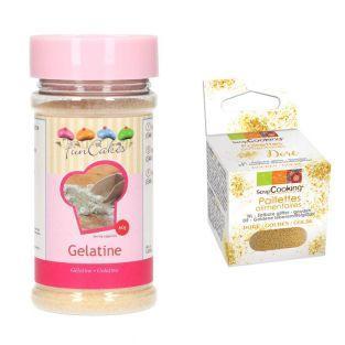 Gelatin Powder 60 g + Edible golden...