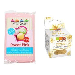 Zuckerteig 250 g Rosa + Goldene...